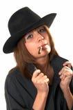 Ragazza in un cappello del cowboy e della camicia nera Fotografia Stock Libera da Diritti