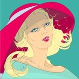 Ragazza in un cappello rosso Fotografia Stock