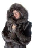 Ragazza in un cappotto di pelliccia immagine stock libera da diritti