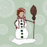 Ragazza in un costume del pupazzo di neve Immagine Stock