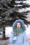 Ragazza in un legno in inverno Fotografie Stock
