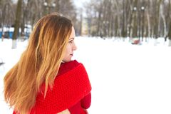 Ragazza in un rivestimento rosso che cammina in un parco di inverno fotografia stock