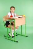 Ragazza in un uniforme scolastico che si siede ad uno scrittorio e che legge un libro Fotografia Stock
