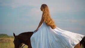Ragazza in un vestito bianco su un cavallo Sposa che monta un cavallo nel campo video d archivio