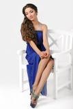 Ragazza in un vestito blu Immagine Stock Libera da Diritti