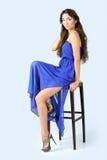 Ragazza in un vestito blu Fotografia Stock Libera da Diritti