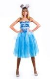 Ragazza in un vestito blu con le orecchie di mouse Fotografie Stock