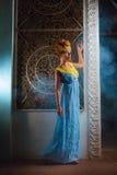 Ragazza in un vestito blu lungo Fotografia Stock Libera da Diritti