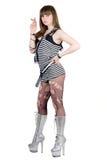 Ragazza in un vestito a strisce fotografie stock