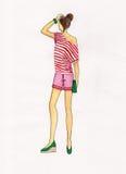 Ragazza in una maglietta a strisce Illustrazione Fotografie Stock
