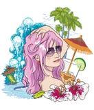 Ragazza in vacanza royalty illustrazione gratis