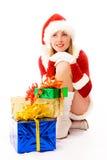 Ragazza vaga con i regali di Natale immagini stock libere da diritti