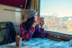 Ragazza in vagone del treno fotografia stock libera da diritti