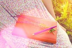 Ragazza in vestito da estate che tiene un libro Fotografia Stock