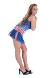 Ragazza in vestito dalla bandiera americana Fotografia Stock