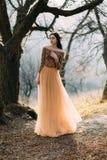 Ragazza in vestito dorato fotografia stock libera da diritti
