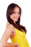 Ragazza in vestito giallo fotografie stock libere da diritti