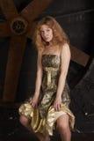 Ragazza in vestito lucido dal broccato contro sopra una parte posteriore di oscurità Fotografia Stock