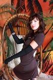 Ragazza in vestito marrone Fotografia Stock