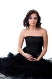 Ragazza in vestito nero Immagini Stock Libere da Diritti