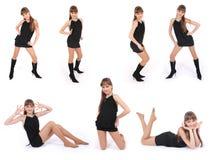 Ragazza in vestito nero che propone nelle pose dello studio sette Fotografie Stock Libere da Diritti