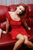 Ragazza in vestito punteggiato Fotografia Stock