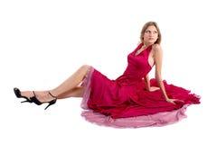 Ragazza in vestito rosso Fotografia Stock