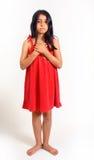 Ragazza in vestito rosso Fotografie Stock Libere da Diritti