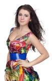 Ragazza in vestito variopinto Fotografia Stock