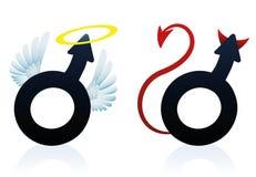 Ragazzaccio del ragazzo di Angel Devil Male Symbol Good Immagini Stock