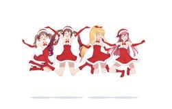 Ragazze allegre di manga di anime come Santa Claus in un salto immagini stock libere da diritti