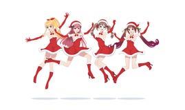 Ragazze allegre di manga di anime come Santa Claus in un salto immagini stock