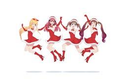 Ragazze allegre di manga di anime come Santa Claus in un salto immagine stock libera da diritti