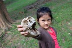 Ragazze asiatiche con le ossa della scimmia Immagine Stock