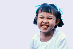 Ragazze asiatiche felici sui precedenti bianchi Fotografia Stock