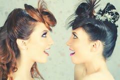 Ragazze assolutamente splendide dei gemelli con trucco e l'acconciatura di modo Fotografia Stock Libera da Diritti