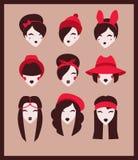 Ragazze in cappelli illustrazione di stock