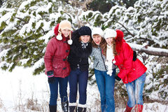 Ragazze che abbracciano nella sosta di inverno Fotografia Stock