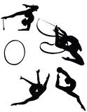 Ragazze che addestrano relativo alla ginnastica ritmico Fotografia Stock