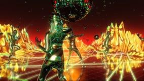 Ragazze che ballano e che passano il pianeta al neon di ballo immagine stock