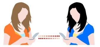 Ragazze che chiacchierano sui telefoni mobili illustrazione vettoriale