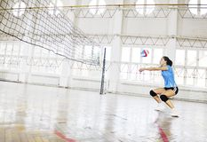 Ragazze che giocano il gioco dell'interno di pallavolo Fotografia Stock