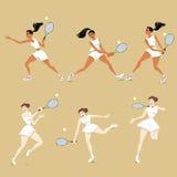 Ragazze che giocano tennis Fotografia Stock