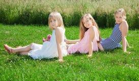 Ragazze che si siedono sull'erba verde Immagini Stock Libere da Diritti