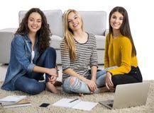 Ragazze che studiano a casa Immagine Stock Libera da Diritti