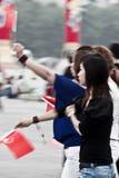 Ragazze cinesi con le bandierine Immagine Stock Libera da Diritti