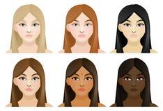 Ragazze con i capelli e la pelle differenti di colore Immagini Stock Libere da Diritti