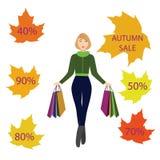 Ragazze con i sacchetti della spesa, vendita di autunno Fotografia Stock Libera da Diritti