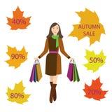 Ragazze con i sacchetti della spesa, vendita di autunno Fotografie Stock