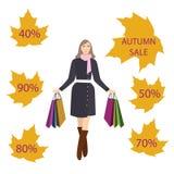 Ragazze con i sacchetti della spesa, vendita di autunno Immagine Stock Libera da Diritti